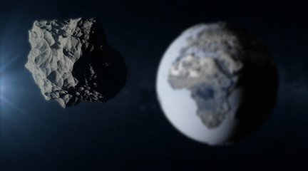 Big Asteroid Closing to the Frozen Earth Planet. Apocalypse Concept. Elements of this image furnished by NASA. (Focus on the Asteroid)