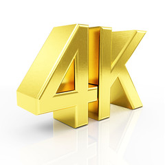Golden 4K Ultra HD Symbol isolated on white reflective background