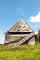 Shepherd's hut in mountain valley in tatra mountains.