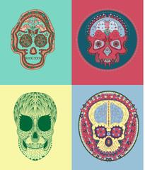 Vector Colored Illustrated Varıous Mexican Sugar Skulls