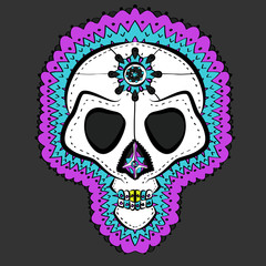 Vector Illustrated Traditional Colored Mexican Sugar Skull