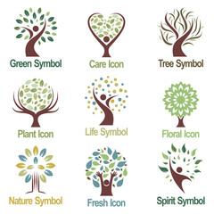 Green Plant Tree Logo Icon Collection