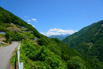 Southern Japan Alps and Shimoguri village in Iida, Nagano, Japan