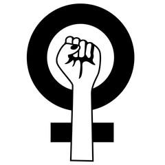 Raised fist icon of feminist movement. EPS 10 vector.