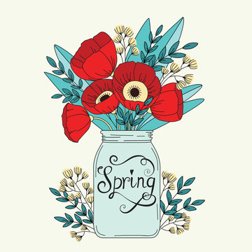 Floral wedding background. Flowers in jar. Spring concept wallpaper with poppy
