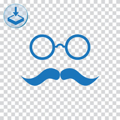 Glasses with mustache for web and mobile.