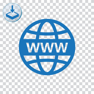 WWW with globe sign icon web and mobile.