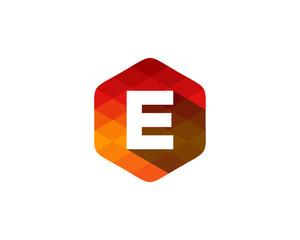 E Letter Color Pixel Shadow Logo Design Element