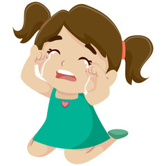 Illustration of a Little Girl Crying