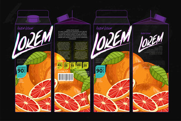Template Packaging Design Grapefruit Juice. Concept design of Fruit Juice. Abstract Cardboard Box for Juice. Vector Packaging of Grapefruit Juice. Packaging Elements of Cardboard Box Template