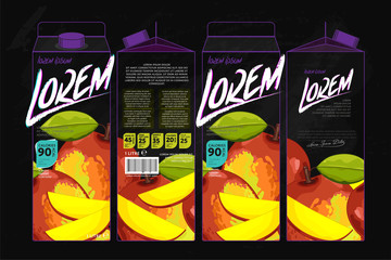 Template Packaging Design Mango Juice. Concept design of Fruit Juice. Abstract Cardboard Box for Juice. Vector Packaging of Mango Juice. Packaging Elements of Cardboard Box Template