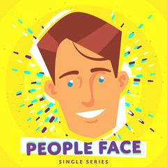 Cartoon smiling people face. Vector face icon.