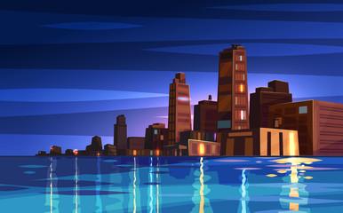 Vector beautiful night cartoon city with moon.