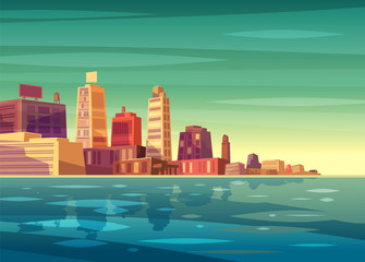 Vector beautiful sunrise over cartoon city with lake, river or ocean.
