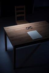 Desk in interrogation room