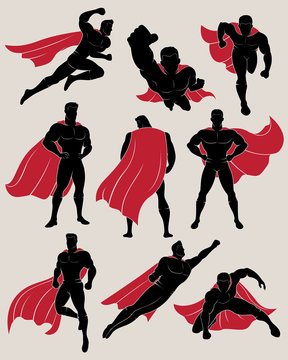 Set of superhero in 9 different poses. No gradient used.