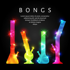 Cannabis bongs. Vector illustration of bongs for ganja smoking. Glowing multicolored silhouettes of marijuana bongs.