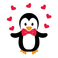 penguin and heart