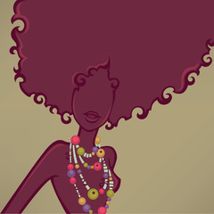 african girl, vector background witn female silhouette