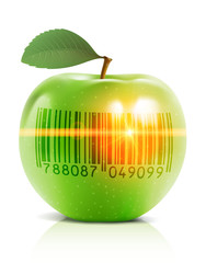 Green apple with barcode and laser ray