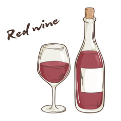 vector hand drawn illustration of bottle and glass of red wine