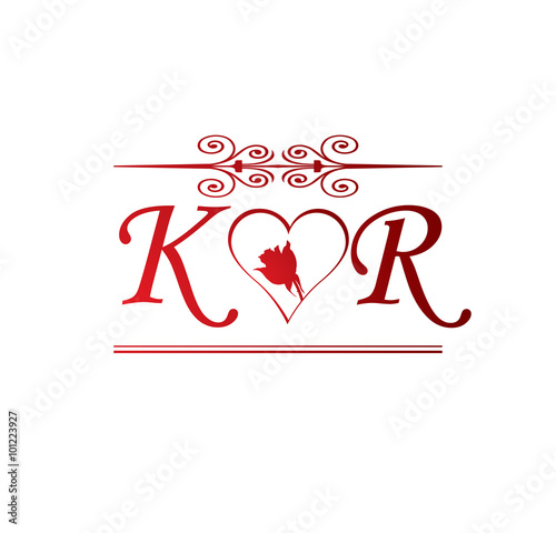Kr Love Initial With Red Heart And Rose