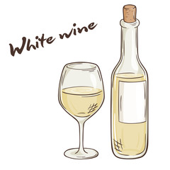 vector hand drawn illustration of bottle and glass of white wine