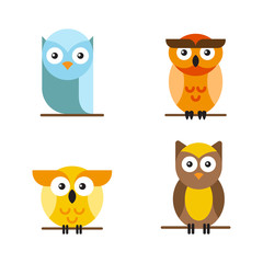 Set of bright vector owls, who are sitting on a tree branch. Cute owls cartoon characters made in line art style.