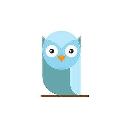 Cute blue bright owl sitting on a tree branch.