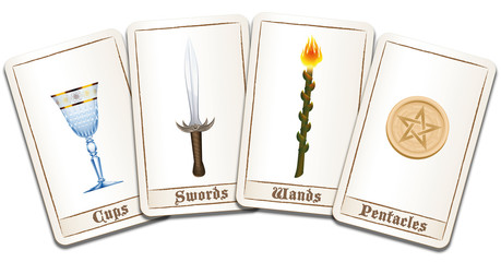 Tarot cards fanned out with four suits: wands, coins, swords and cups. Isolated vector illustration on white background.