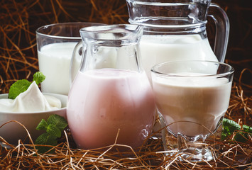 Organic dairy products: milk, cream, sour cream, fermented baked