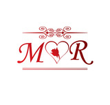 Mk Love Initial With Red Heart And Rose Stock Image And Royalty