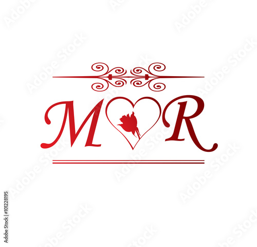 mr love initial with red heart and rose stock image and royalty