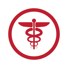 Flat red medical symbol icon in circle on white