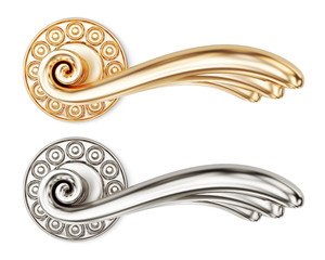 Set of door handles with ornaments on white background. 3d rende