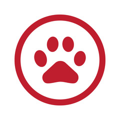 Flat red Paw Print icon in circle on white