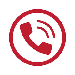 Flat red Phone icon in circle on white