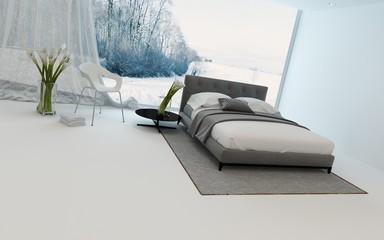 Modern cool bedroom interior overlooking a garden