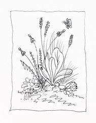 Line drawing of weeds.