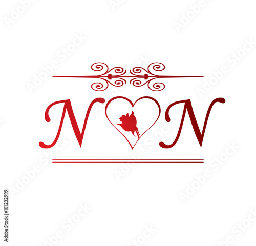 NN love initial with red heart...