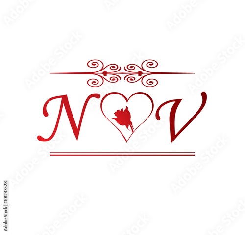 NV Love Initial With Red Heart And Rose Stock Image And