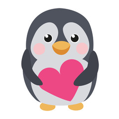 Cute penguin with heart