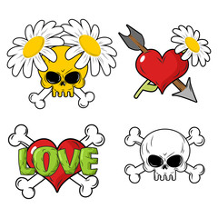 Love and death Set elements. Skull and red heart. Flower and arr