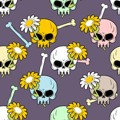 Skulls and flowers seamless pattern. Cute backgrounds for Hallow