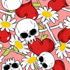 Love and death seamless pattern. Red heart and skull. Background