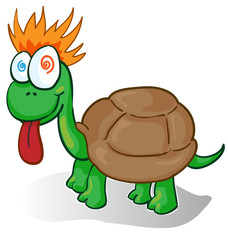 Vector illustration of a foolish cartoon turtle