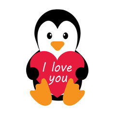 penguin with heart and text