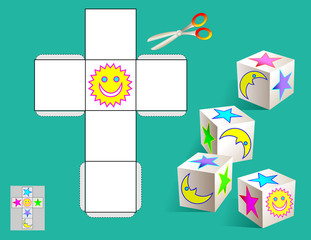 Logic puzzle. Draw the relevant images on the pattern, color and make by cube (as shown on the samples). Vector image.