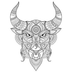 Drawing angry bull for coloring book,tattoo,T shirt design and other decoration