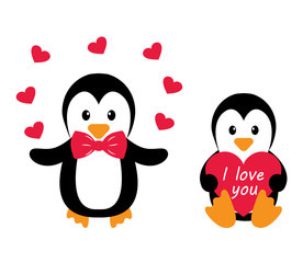 penguins and heart and text